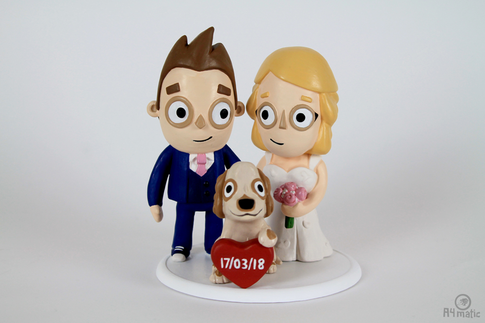 Couple and Dog Cake Topper A4matic 006