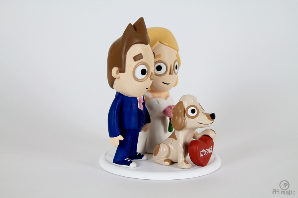 Couple and Dog Cake Topper A4matic 009